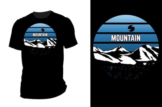 Maquette t-shirt silhouette montagne rétro vintage