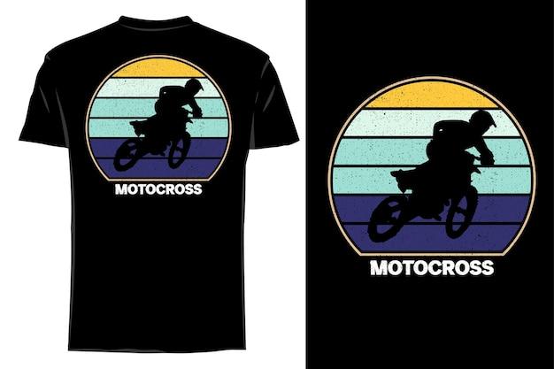 Maquette t-shirt silhouette motocross classique rétro vintage