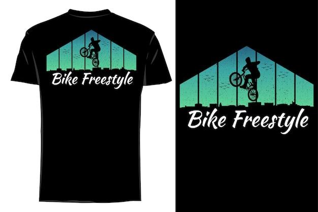 Maquette t-shirt silhouette vélo freestyle rétro vintage