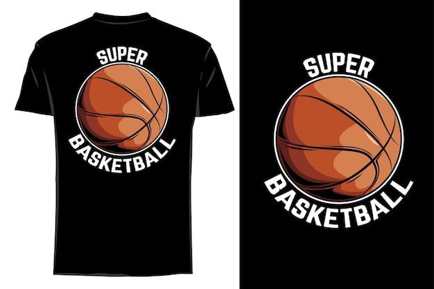 Maquette t-shirt vecteur super basket rétro vintage