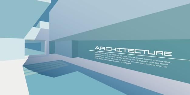 Maquette de vecteur d'architecture contemporaine pour une page de destination de mise en page ou un livret ou un dépliant publicitaire de conception