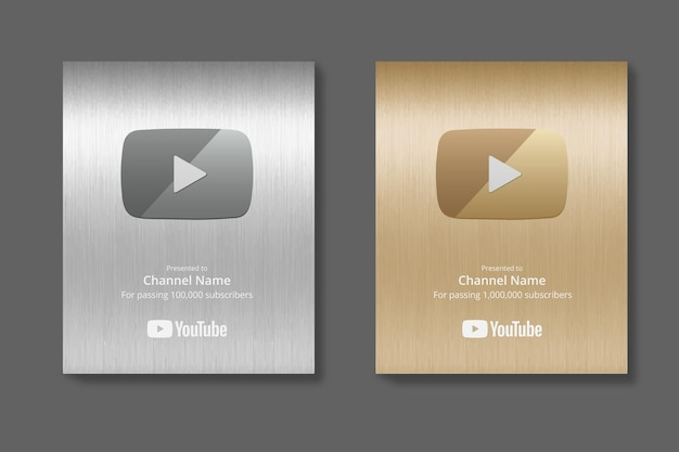 Maquette de vecteur de bouton de lecture youtube argent et or