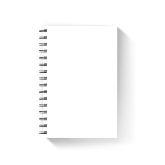 Maquette de vecteur de couverture de cahier blanc vierge isolée sur blanc