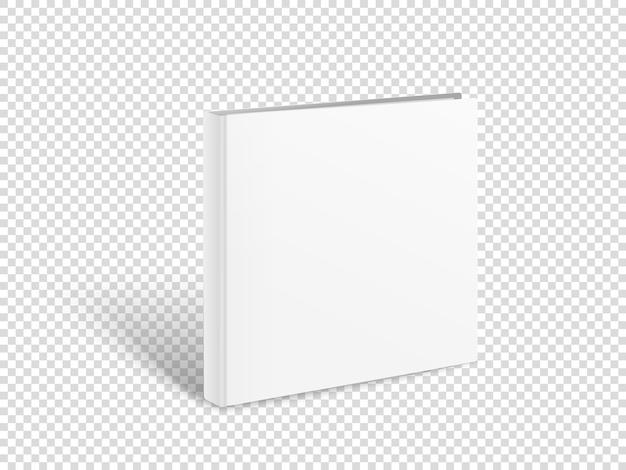 Maquette de vecteur de livre carré blanc. livre papier isolé sur transparent
