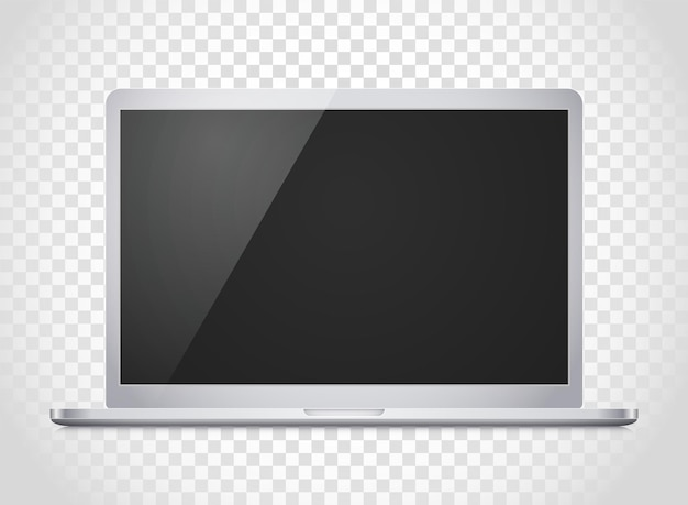 Maquette de vecteur d'ordinateur portable moderne. illustration photoréaliste de cahier de vecteur. modèle pour un contenu
