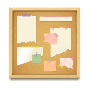 Maquette vectorielle réaliste de tableau de liège ou de tableau d'affichage