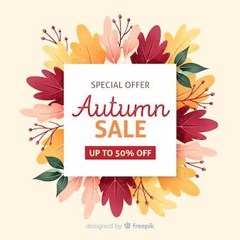 Maquette de vente d'automne avec feuillage séché