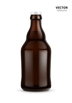 Maquette de verre bouteille de bière isolée