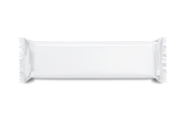 Maquette vierge blanche de collation, emballage de barre de chocolat