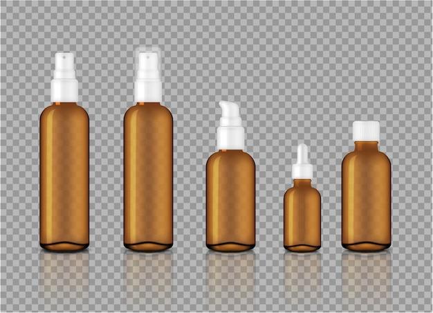 Maquettes de compte-gouttes d'huile transparente transparent ambre pour produit de soin de la peau