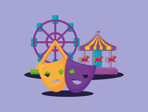 Maquettes de theather avec carrousel et grande roue