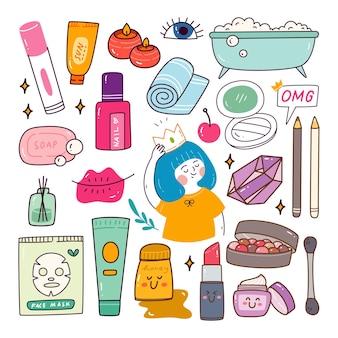 Maquillage de beauté et griffonnages kawaii d'objet de temps