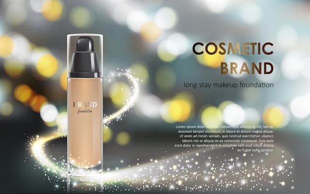 Maquillage de couleurs dans un emballage élégant fond gris avec un effet bokeh et un flux de poussière étincelante