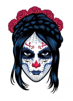 Maquillage des femmes portant un crâne en sucre