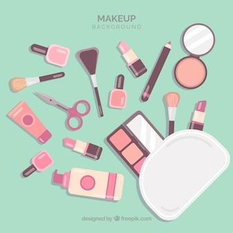 Maquillage de fond avec un design plat