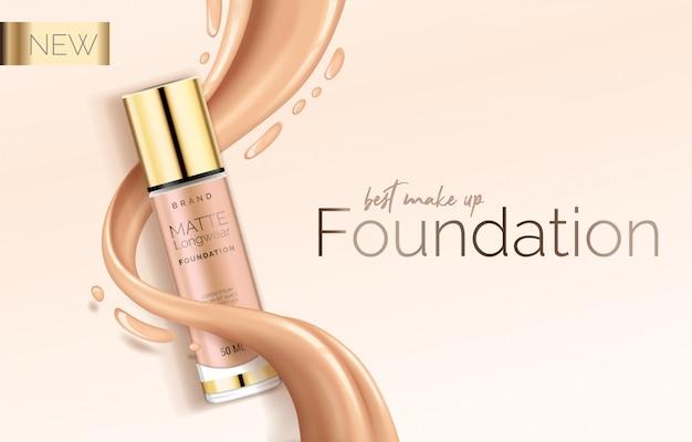 Maquillage de fondation, modèle de conception publicitaire pour catalogue avec correcteur, tube d'emballage bb crème