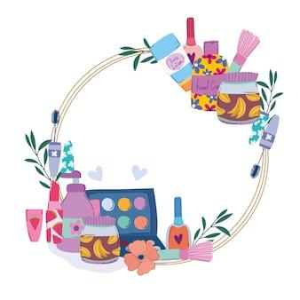 Maquillage mode cosmétiques éléments de beauté fleurs décoration illustration vectorielle
