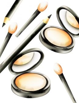 Maquillage poudre visage avec pinceaux et crayons pour les yeux