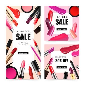 Maquillage pour les lèvres bannières de vente réalistes