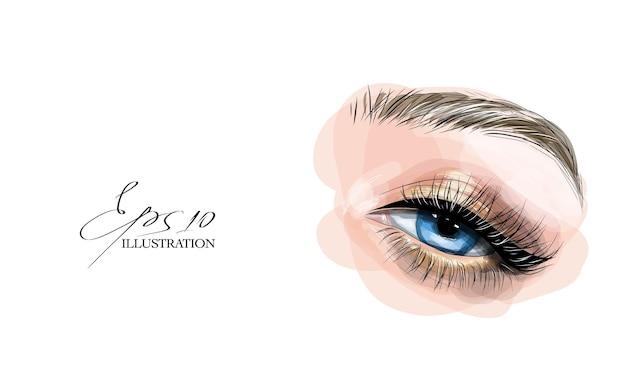 Maquillage pour les yeux. beau croquis dessiné à la main