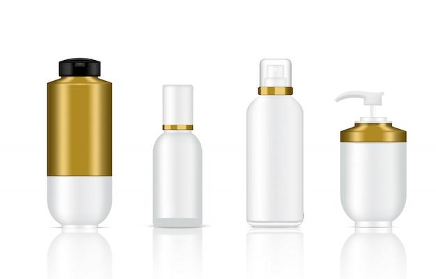 Maquillage de réalistes bouteilles de luxe de savon, shampoing et spray cosmétiques blancs et dorés