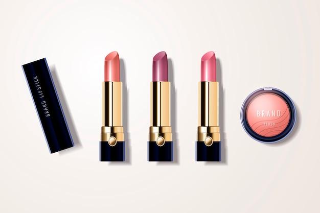 Maquillage avec rouge à lèvres et fard à joues