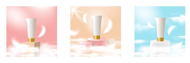 Maquillage de scène de podium de scène artificielle pour le fond de produit de beauté cosmétique