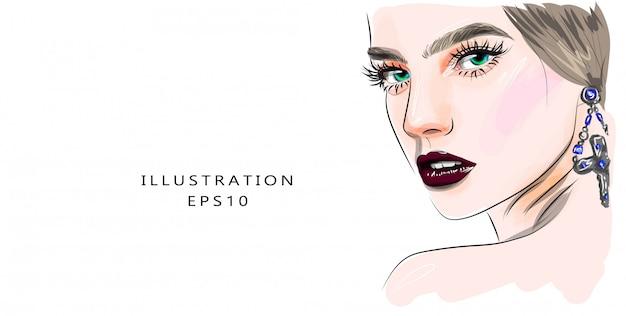 Maquillage de visage de jeune femme glamour dessiné à la main avec de beaux yeux illustration