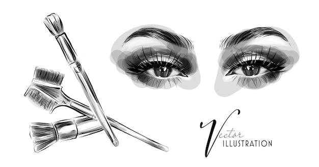 Maquillage des yeux en noir et blanc pinceaux de maquillage pour les yeux et les sourcils