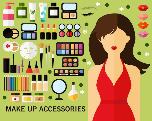 Maquiller fond de concept d'accessoires. icônes plates