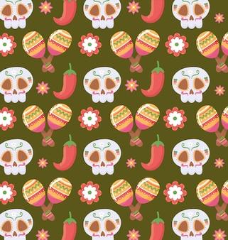 Maracas mexicains de fleur de crâne