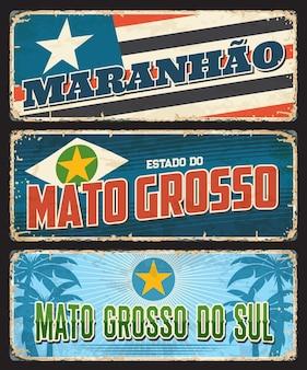 Maranhao, mato grosso do sul, plaques rouillées des états brésiliens
