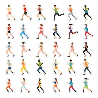 Marathon runners et sprinter handicap avec jambe prothétique.
