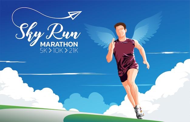 Marathon sky run art à thème