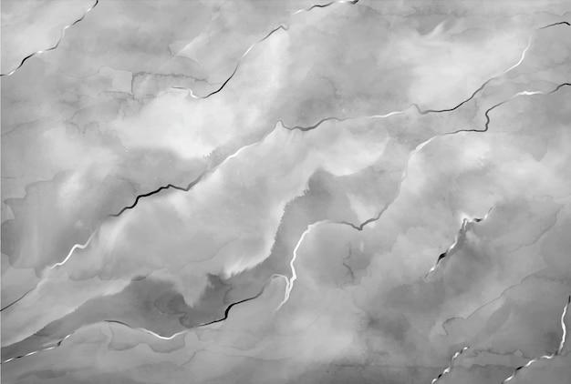 Marbre gris pierre aquarelle avec traits argentés