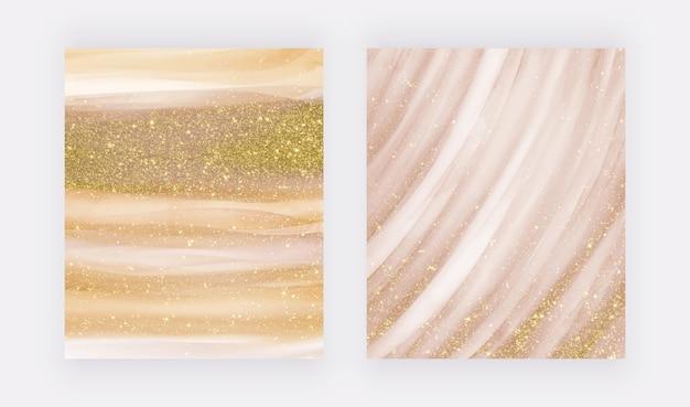 Marbre liquide doré avec texture pailletée