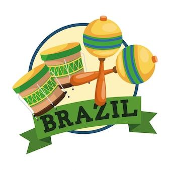 Marca et l'icône du tambour. le thème de la culture brésil et l'amérique