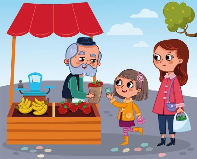 Marchand de légumes et une petite fille vector illustration