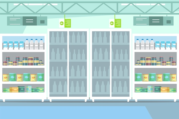 Marchandises sur étagère dans l'illustration de supermarché. section des produits laitiers dans le dessin du centre commercial vide. merchandising. réfrigérateurs avec bouteilles de lait frais. épicerie. yaourt bio et éco