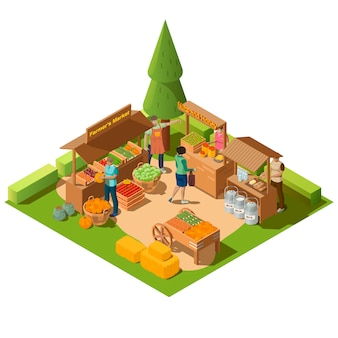 Marché agricole en plein air isométrique