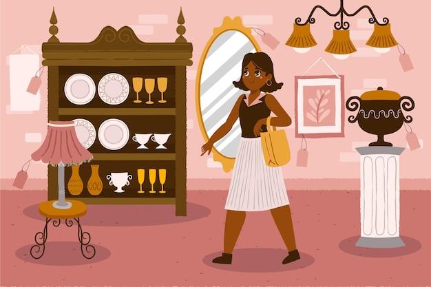 Marché d'antiquités illustré avec vendeur