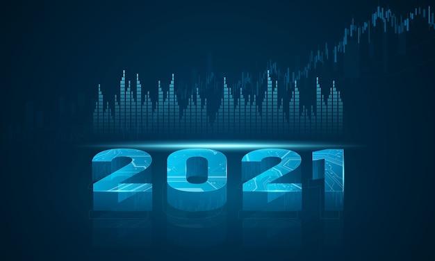 Marché boursier 2021, graphique économique avec diagrammes, concepts et rapports commerciaux et financiers, fond de concept de communication technologie abstraite
