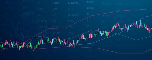 Marché boursier, graphique économique avec diagrammes, concepts et rapports commerciaux et financiers, fond de concept de communication de technologie abstraite