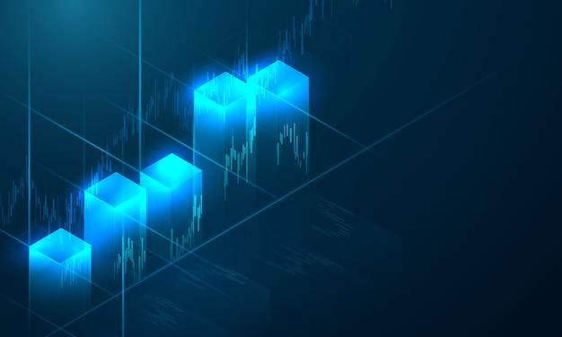 Marché boursier, graphique économique avec diagrammes, concepts et rapports commerciaux et financiers, fond de concept de communication technologie abstraite