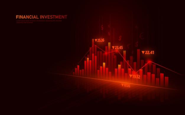 Marché boursier ou graphique de trading forex dans un concept graphique adapté aux investissements financiers ou aux tendances économiques.