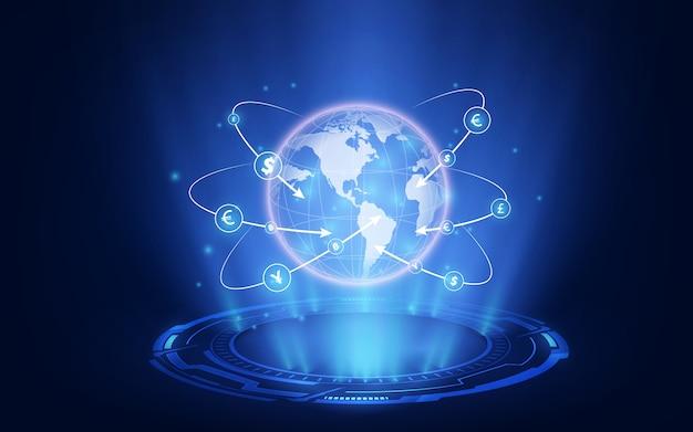 Marché boursier ou graphique de trading forex dans un concept graphique adapté à l'investissement financier ou aux affaires de tendances économiques.