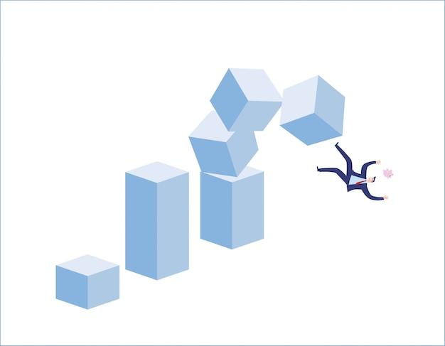 Marché boursier tombe mal. dépeint l'échec financier, le marché boursier baissier, les mauvaises ventes, les pertes commerciales et les investissements perdus