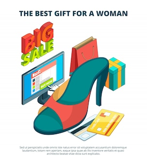 Marché de la chaussure. illustration 3d de bottes et de vêtements décontractés pour hommes et femmes, sandales oversize, image isométrique