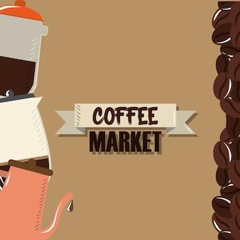 Marché du café, bouilloire bouilloire moudre des graines design illustration vectorielle