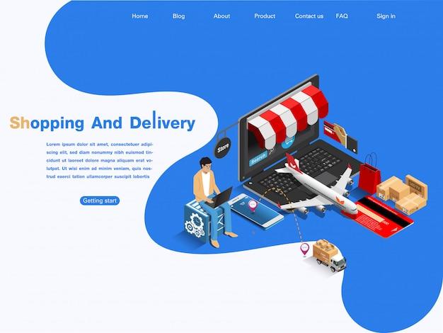 Marché du commerce électronique, achats et livraison en ligne. concept isométrique